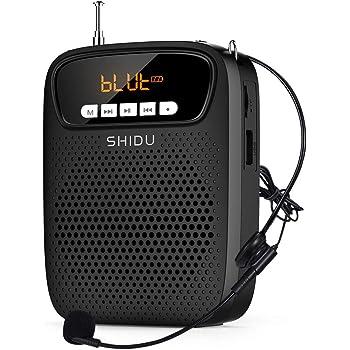 SHIDU amplificador de voz portatil micrófono, (15 W) con recargable batería de litio de 2500 mAh, profesional bluetooth voice amplifier Altavoz para profesor, guias turístico promotores ect S278