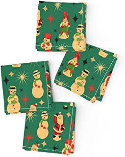 Roostery Cloth Cocktail Napkins, Christmas Figure Santa Snowman Elf Soldier Blow Mold Vintage Snowmen Retro Holiday Print, Cotton Sateen Cocktail Napkins, 10in x 10in, Set of 4