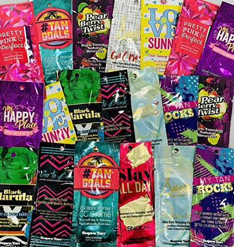 100 Packets Lot Of Assorted Variety Self Bronzer Tanning Lotion Sample Mix .75oz