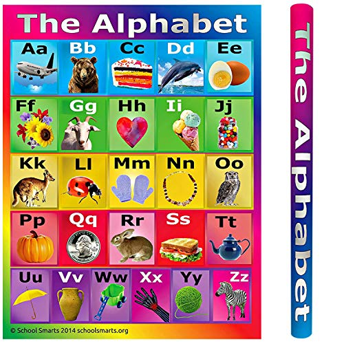 "School Smarts Laminated ABC Alphabet Wall Poster for Preschool Kids, Large Durable Display of the Alphabet plus Informational Photos for Use in Homeschool or Classroom Settings, 17"" X 22"""