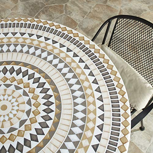 The Lakeside Collection Custom-Fit Elastic 48' Round Table Cover for Home and Catering - Tiles