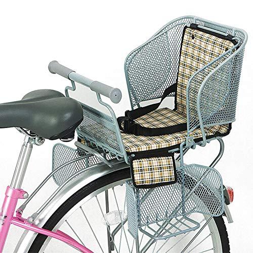 ZYQDRZ Seggiolino per Mountain Bike, Bicicletta Elettrica, Seggiolino Posteriore per Bambini (con Maniglia) E Pedali, Sedile Posteriore per Bicicletta di Sicurezza,Beige