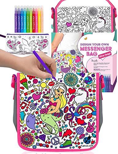 Purple Ladybug Kleine Handtasche für Mädchen - Bemale Deine Eigene Kleine Tasche mit Bunten Stiften Plus Einem Bonus Stifteetui - DIY Bastel Set für Die Schule, Tolles Geschenk für Mädchen