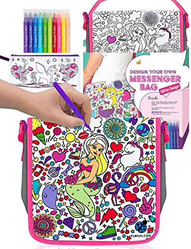 Purple Ladybug Colour Your Own Messenger Bag For Girls with 10 Bright Markers Plus a Bonus Pencil Case! Fun Arts and Crafts Activity Kit for Kids, Cool Present for Girl, Creative Art Set for Children