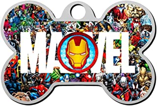 GOEMIX Iron Man Logo 3D Print Stainless Steel Dog Cat Tags Pet ID Label Personalized Front and Back Engraving