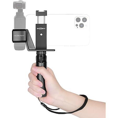 INSOMOV DJI Pocket 2 Osmo Pocket用ホルダーセットiPhone 12ProMax用 Android用スマホホルダー Osmo Pocket 2、DJI Osmo Pocket 用ホルダークリップ + アルミ携帯電話ホルダー+ミニ三脚スタンド コールドシュー付き DJI Osmo Pocket 2写真撮影ビデオ用アクセサリーセット