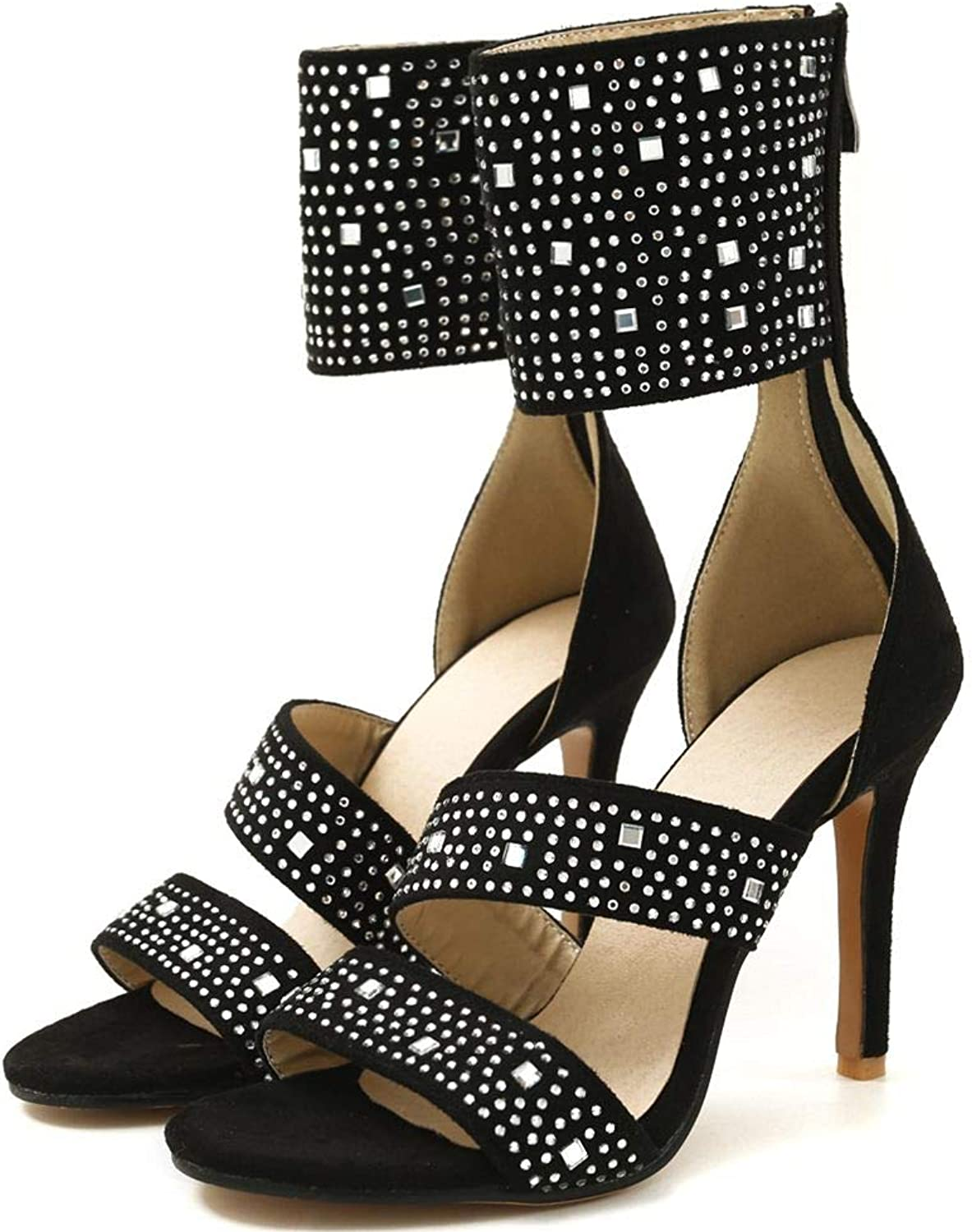 DoraTasia Fashion Open Toe High Heel Sandals for Women Sexy Dress Stiletto shoes Pearl and Rivet Decoraction
