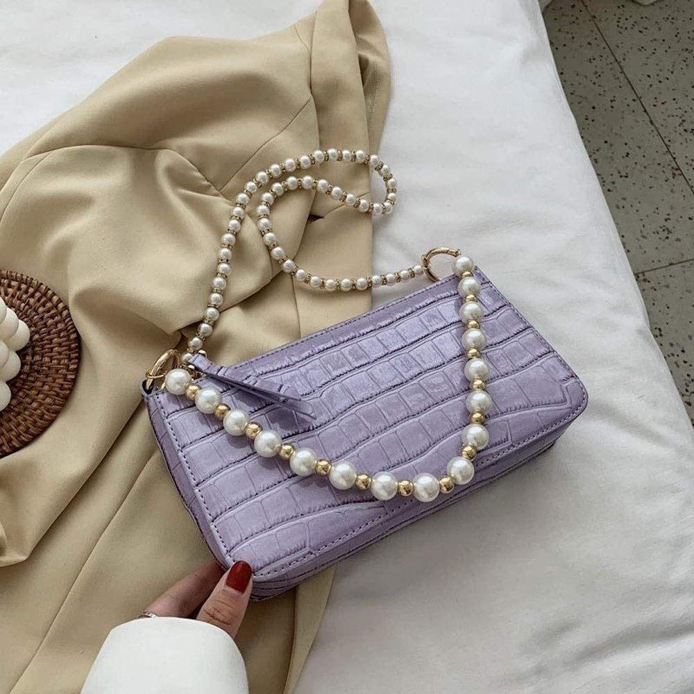 ISADHP Les Femmes en Cuir Souple Hobo Sacs à Main Mode Flip Cross-Corps Retro Messenger Sacs Ladies Sacs à Main épaule (Color : White) Purple