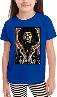 Custom Children's Boys Girls Jjimi Hendrix Printing Tee T-Shirts Black 100% Cotton Top Tee