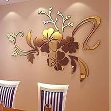 YWLINK 3D Espejo Floral Arte ExtraíBle Etiqueta De La Pared AcríLico Mural Decal Home Room Decor