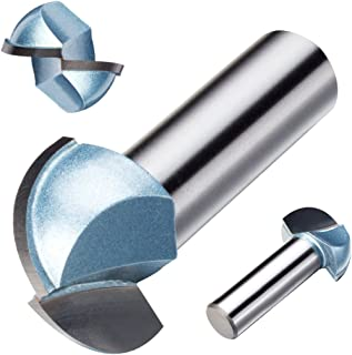 uxcell 1-inch Cutting Dia, 1/2-inch Steel Shank 2-Flute, Carbide Tipped Cove Core Box Router Bit