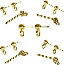 B Baosity 200Pcs Messing Ohrstecker Rohlinge DIY Silber Ohrring basteln Schmuckherstellung Golden 6 mm