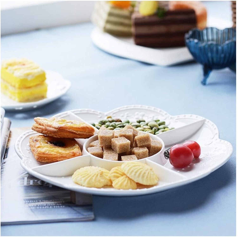 Panier à Fruits en céramique Panier à Fruits Européen en Relief Cinq Grille Fruits Assiette De Fruits Séchés Cadeau Créatif