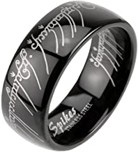 1000 Jewels Eregion B: Replica The One Ring Hobbit Lord of, Comfort Fit Black Plated 316 Steel, 3278