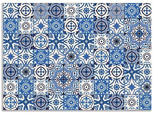 Artland Spritzschutz Küche aus Alu für Herd Spüle 90x65 cm Küchenrückwand mit Motiv Mosaik Fliesenmuster Abstrakt Fliesenoptik Orientalisch Blau H6ZH
