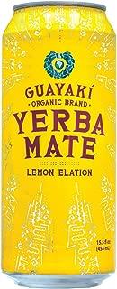 Guayaki Organic Yerba Mate Lemon Elation, Lemon Yerba Mate Drink, Naturally Caffeinated, Made with Organic, Fair Trade and Non-GMO Ingredients, 16 Fl Oz, Pack of 12