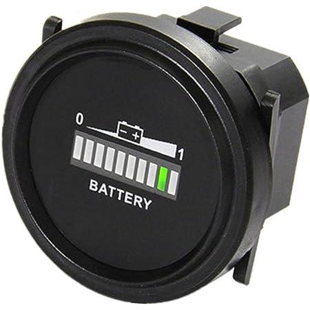 Qiorange Digitale Led Batteriestatus Ladeanzeige Batterieanzeige Stundenzähler Zeitzähler Dc 12v 24v 36v 48v 72v Runde 12v 72v Auto
