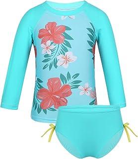 a5a01f024eec6 TiaoBug Bébé Fille Maillot de Bain Deux Pièces Anti-UV Tankini Floral  Bikini Haut Natation