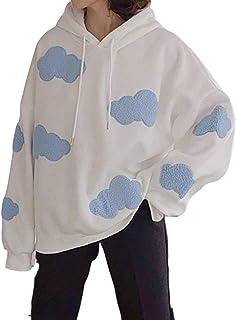 Sudadera con capucha Kawaii Clouds para mujer, casual, ropa de punto, para niñas, primavera, otoño (color: blanco, talla: L)