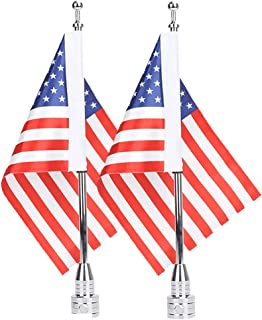 E-Most 2 Pieces Motorcycle 6 x 9 American Flag + Flagpole Mount Kit, Smaller than 1/2