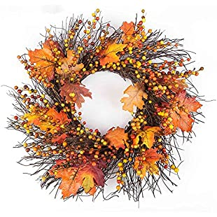 Xshuai Thanksgiving Day 50cm Berry Maple Leaf Fall Mountainside Autumn Door Wreath Crafts Door Wall Ornament Home Decoration (Yellow):Canliiddaa