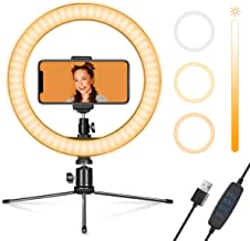 "Ring Light 10"" with Stand & Phone Holder for YouTube Video, Dimmable Desk LED Ring Light with Cell Phone Holder for Photog..."
