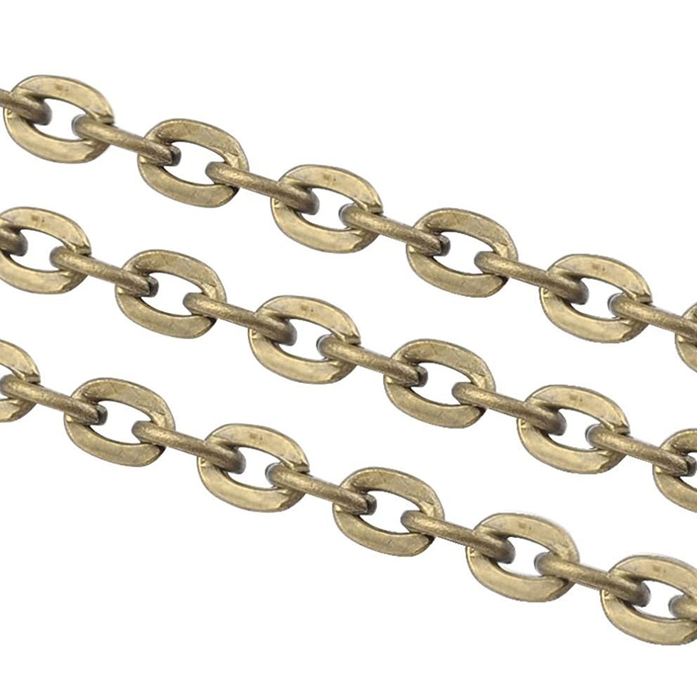 NBEADS 100m Iron Cross Chains, Cable Chains, Antique Bronze Color, Size: Chains: About 3mm Long, 2mm Wide, 0.5mm Thick, 100m/roll