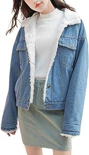 Omoone Women`s Vintage Lapel Sherpa Fleece Lined Loose Fit Thicken Denim Jacket