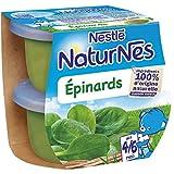 NESTLE NATURNES Petits Pots Bébé Epinards  - Dès 4/6 mois - 2x130g - Pack de 12