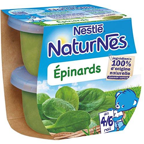 NESTLE NATURNES Petits Pots Bébé Epinards - Dès 4/6 mois - 2x130g - Pack de 12 (24 Pots)