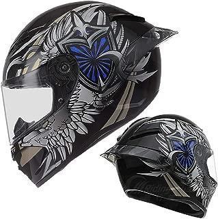 BBJZQ Adult Motocross Helmet with Rear Wing Design,MX Motorcycle Helmet Scooter ATV Helmet Good Ventilation Full Face Racing Motorcycle Helmet Lightweight Design