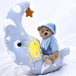Teddy Bear Wish Upon A Star Blue Newborn Baby Boy Keepsake, Christening, Nursery Collectable 8 1/2 inches