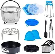 15 pcs Accessories Compatible with Instant Pot Pressure Cooker 6, 8Qt - Steamer Basket, Egg Rack, Springform Pan,Egg Bites Mold,Magnetic Cheat Sheets,Oven Mitts,Tongs,Spatula & Scrubber & Trivet Mat