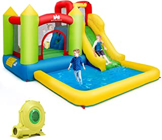 Costzon Inflatable Bounce House, Kids Water Slide with Climbing Wall, Jumping Area, Plash Pool, Including Oxford Carry Bag, Repairing Kit, Stakes, Hose (with 680W Air Blower)