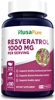 Resveratrol 1000 mg 180 Caps (Non-GMO & Gluten-Free) Supports Healthy Cardiovascular Health and Healthy Aging*