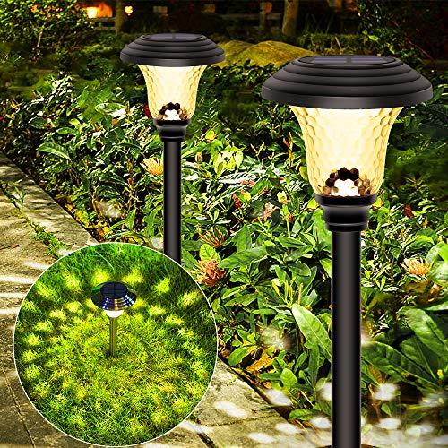 Luces Solares Jardín LED, 2Pcs Energía Solar Luces Jardín, Impermeable IP65 Lampara Solares Jardín, Energía Solar Luces Jardín, Luz Solar de Exterior, Luces de Decoración para Pasillo, Césped, Patio