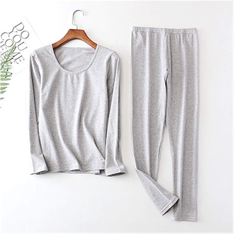 Women Autumn Winter Plus Large Big Size Cotton Thermal Underwear Set Long Johns Top and Bottoms (Color : Light Gray, Size : 5XL)