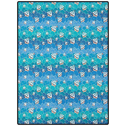 Nautical Arti Area Rug Carpet for Bedroom, Kids Baby Room, Nursery Rug Ships and Waves Transportation Ornamental Adventure Summer Journey Turquoise Blue Pale Blue 60' x 84'