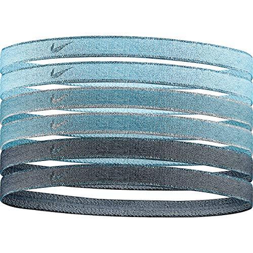 Nike 6-Pack Metallic Blue Swoosh Sport Headbands - Unisex - With Silicone Grip