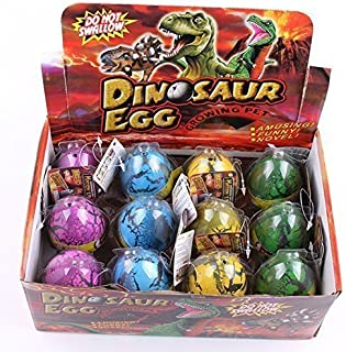 YKL WORLD Hatching Dinosaur Eggs, Set of 12 Pcs Crack Colorful Grow Dino Egg That Hatch in Water Growing Pet Birthday Easter Party Favors Gifts for Kids Boys