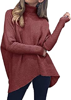ZXFHZS Womens High-low Hem Knitted Winter Long Sleeve Turtleneck Casual Pullover Sweater