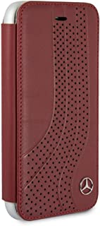 CG Mobile Mercedes Benz Bookstyle Real Leather Case for iPhone 8 and iPhone 7 Hard Cell Phone Cover Red Easy Snap-on Shock Absorption Cover Officially Licensed.