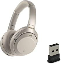 Sony WH1000XM3 Wireless Bluetooth Noise Canceling Over Ear Headphone Bundle with Plugable USB 2.0 Bluetooth Adapter - Silver