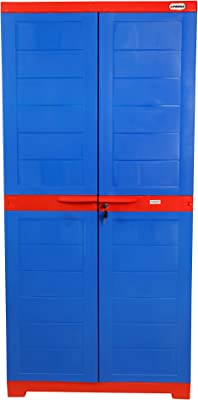 Alfa 2 Plastic Cabinet for Storage Clothes | Space Organizer | Shelves | Cupboard | Living Room | Kids | Multipurpose for Home & Office by Prima (3 Shelf, Blue & Red)