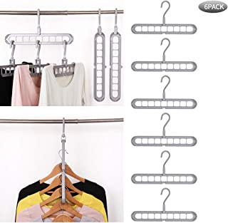 Airmoon Space Saving Hangers, Clothes Grouper, Multifunctional Closet Organizer, Pack of 6 (Gray)