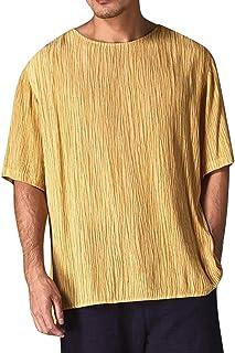 OULSON Men Summer New Shirt Leisure Comfort Linen T-shirt O-Neck Short Sleeve Fashion Loose Casual Shirt Plus Size Tunic Tops For Men