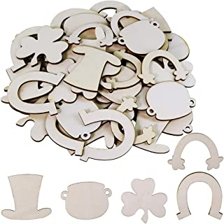 50 Pcs 5 Shapes Blank Wooden Ornaments Unfinished Wood Shamrock Horseshoe Rainbow Leprechaun Hat Pot of Gold Cutouts for St. Patrick's Day Crafts Party Favors DIY Decorations