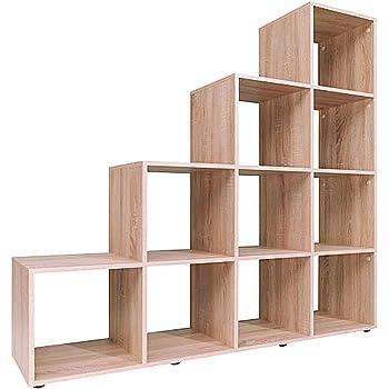 Cubo estantería para libros, de madera Escalera estantería de almacenamiento organizador unidad de pantalla libre de pie, tablero de partículas, marrón, 10 Cubes: Amazon.es: Hogar
