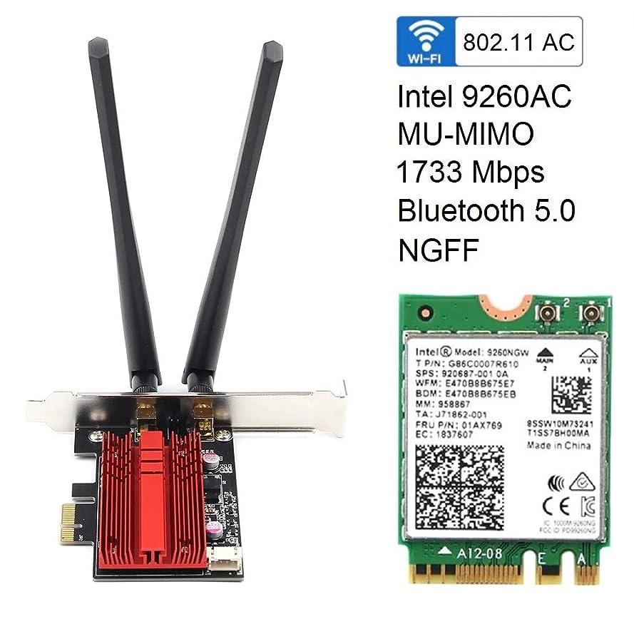 着陸資格情報ハブintel インテル Wireless-AC 9260NGW 無線LAN?Bluetoothカード 802.11ac wave2 (1,733Mbps) Bluetooth 5.0 M.2 (2230) A E インテル 9260 NGW (ヒートシンク付)