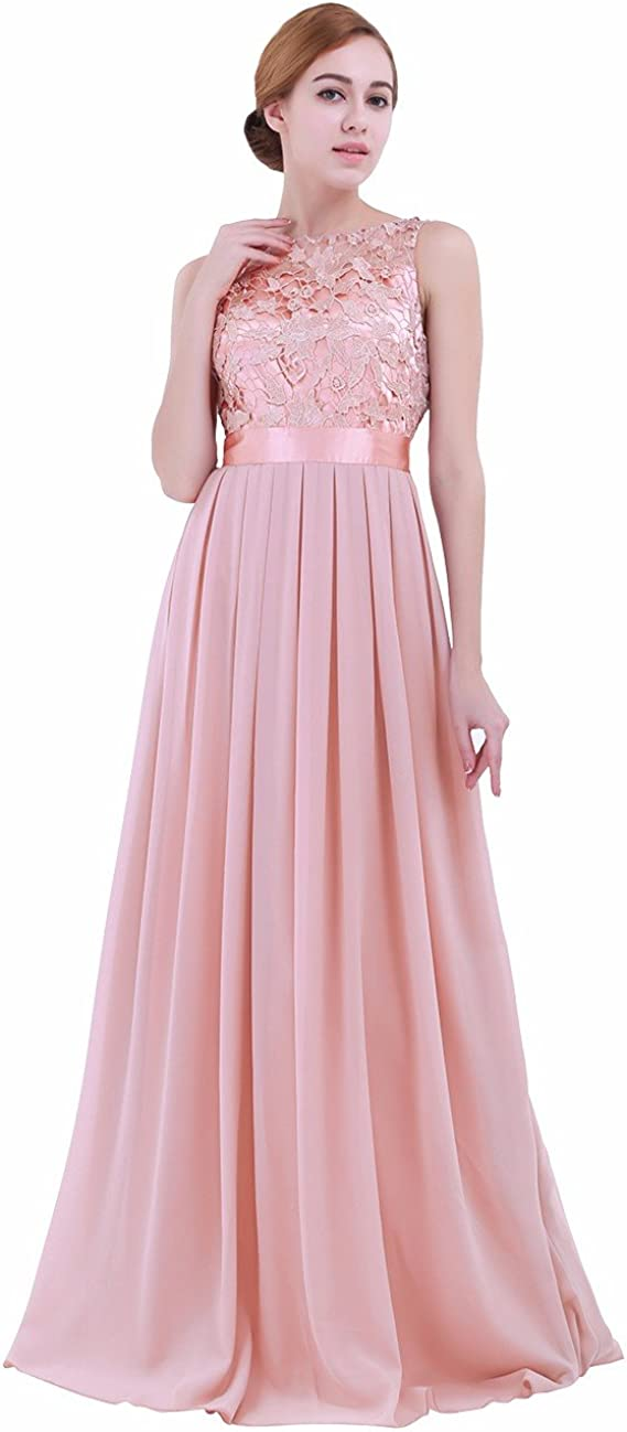 iEFiEL Summer Wedding Floral Lace Crochet Bridesmaid Chiffon Dress Evening Gown